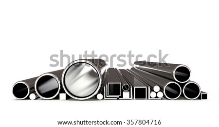 Metal tubes and pipes of various shapes isolated on a white background - stock photo