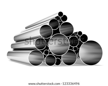 Metal tubes isolated on a white background - stock photo