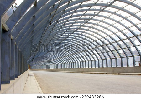 Metal tunnel channel, closeup of photo - stock photo