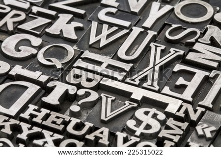 metal type abstract - vintage letterpress printing blocks with letters, dollar sign and question mark - stock photo