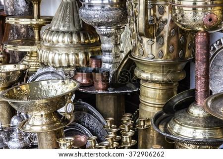 Metal utensil stamping on Moroccan market, Casablanca - stock photo