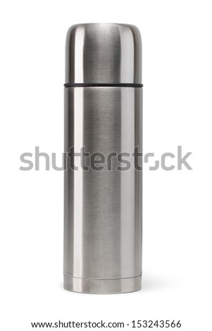 Metal vacuum flask isolated on a white background - stock photo