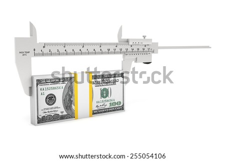 Metal vernier caliper with dollar notes on a white background - stock photo