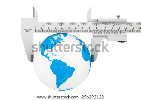 Metal Vernier Caliper with Earth Globe on a white background - stock photo