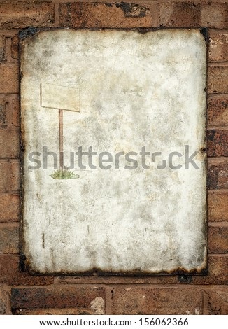 Metal vintage enamel advertisement sign fixed to a wall rusted dirty with sign post drawing inset. Ready for your text  - stock photo