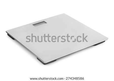 Metal weight scale isolated on white background - stock photo