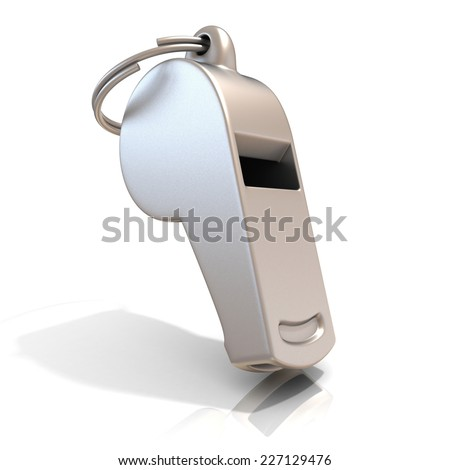 Metal whistle isolated on white background. Standing - stock photo