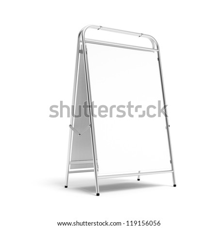Metal white advertising stand. - stock photo