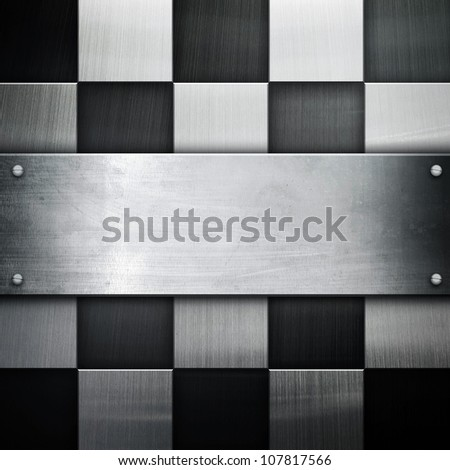 metal with check pattern - stock photo