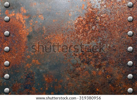 Metal with rivets - stock photo