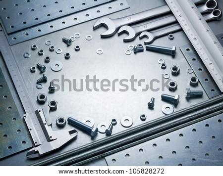 Metal work tools, steel parts. - stock photo