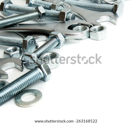 Metal working tools. Metalwork. Metal fixture, spanner on a white background.