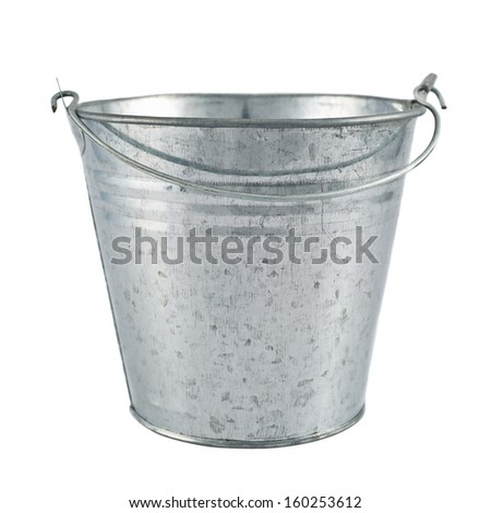 Metal zinc bucket isolated over white background - stock photo