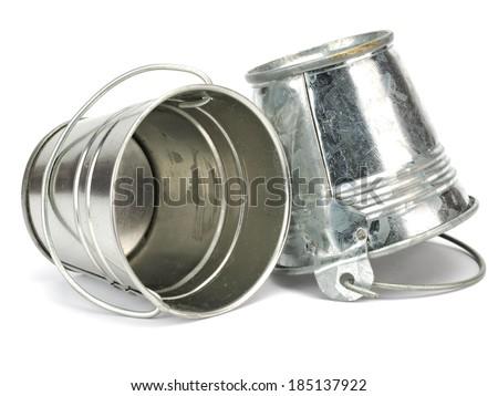Metal zinc bucket on a white background - stock photo