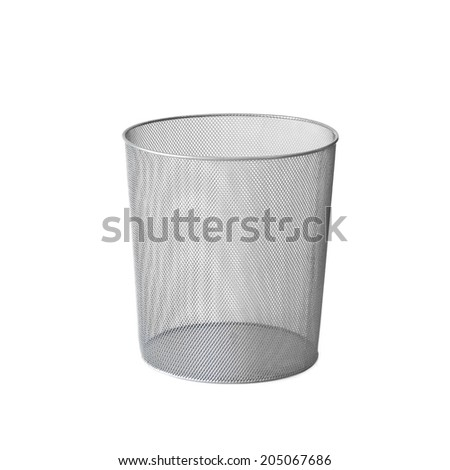 Metalic garbage bin on white square background - stock photo