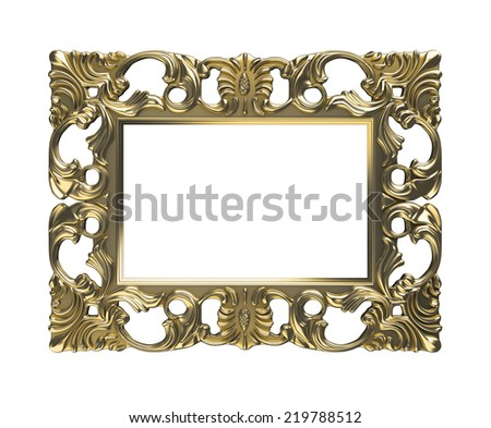 metalic picture frame with pattern decoration. - stock photo