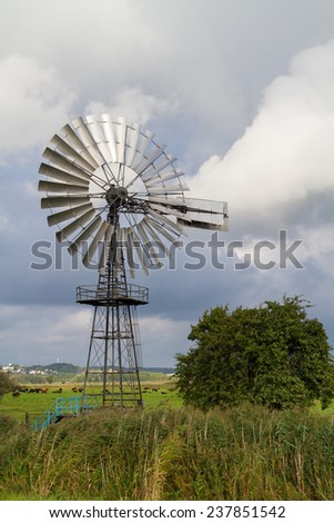 metalic windmill - stock photo
