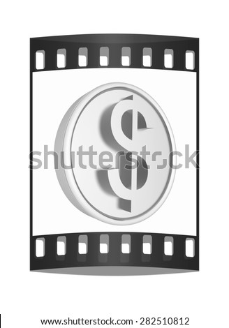 Metall coin with dollar sign. The film strip - stock photo