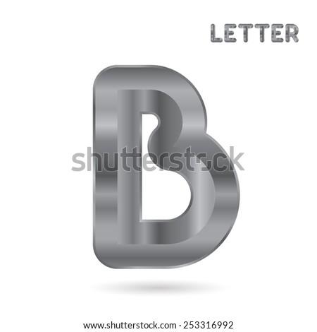Metallic alphabet. Set of stainless 3d letters. Letter B. - stock photo