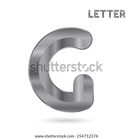 Metallic alphabet. Set of stainless 3d letters. Letter G. - stock photo