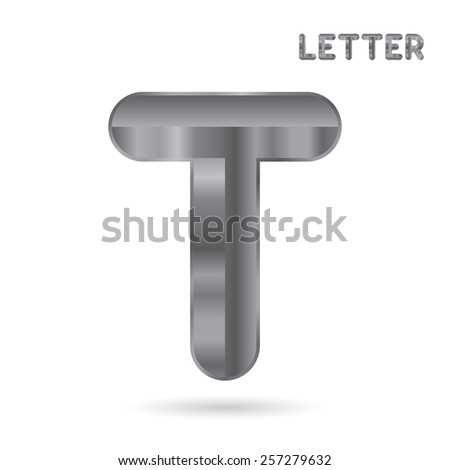 Metallic alphabet. Set of stainless 3d letters. Letter T - stock photo