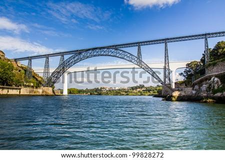 Metallic and Beam Bridges, Porto, River, Portugal - stock photo