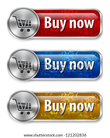 Metallic and glossy web elements/buttons with snow flake background for online shopping. illustration - stock photo