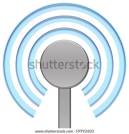 Metallic antenna, sending blue signal - stock photo