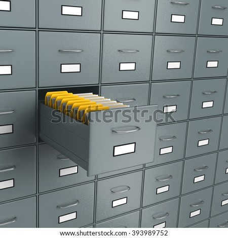 Metallic Archive Rack with One Open Drawer Full of Yellow Document Folders, Find Documents Concept 3D Illustration