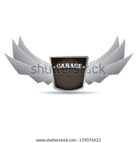 metallic automotive, motorcycle, garage badge with wings isolated on white background. Signs and labels. Raster version - stock photo