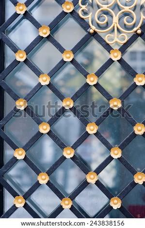 metallic background of the door. - stock photo