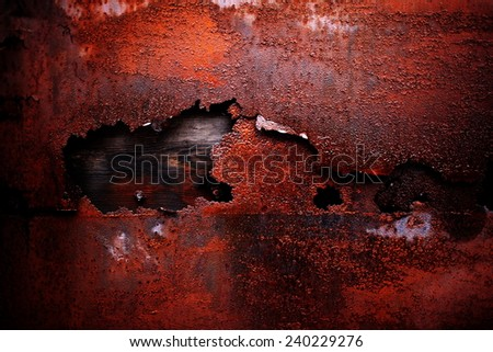 metallic background with old paint and rust - stock photo