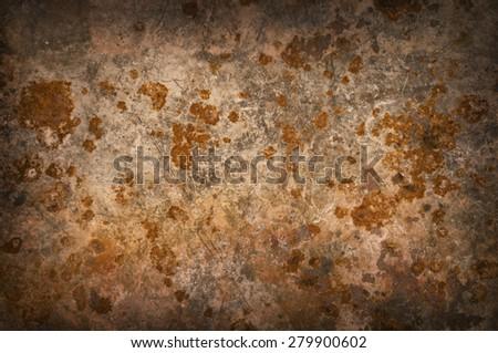 Metallic background with rusty corrosion, darkened around the edges - stock photo