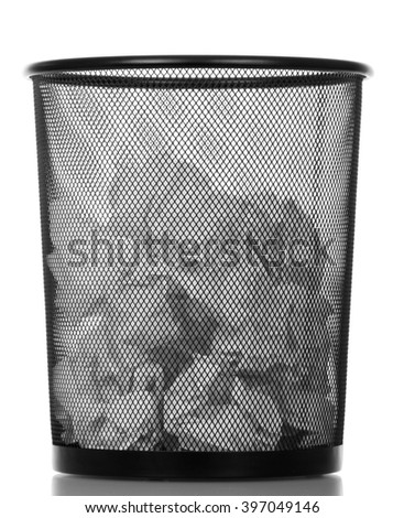 Metallic black trash can isolated on white background.
