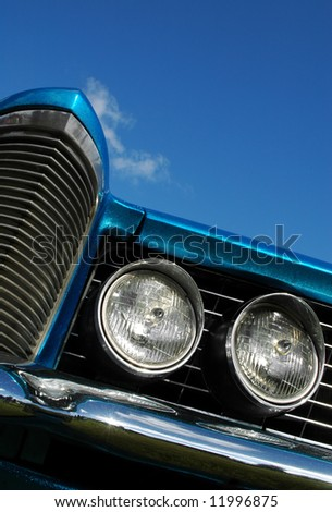 metallic blue classic american car abstract