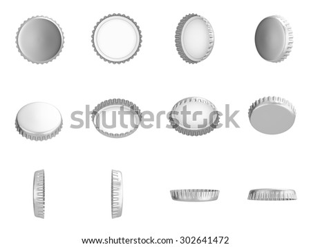 Metallic Bottle Caps , Different angles , Isolated on white , 3d render - stock photo