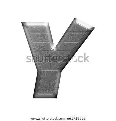 Metallic brick texture uppercase or capital letter Y in a 3D illustration with an industrial rough silver chrome metal block textured surface isolated on a white background with clipping path.
