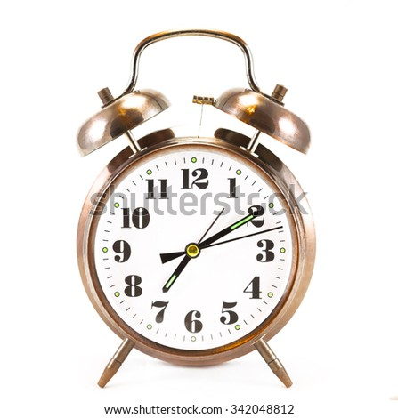 Metallic brown alarm clock isolated on white