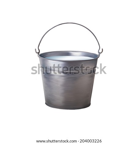 Metallic bucket with milk isolated on white background - stock photo