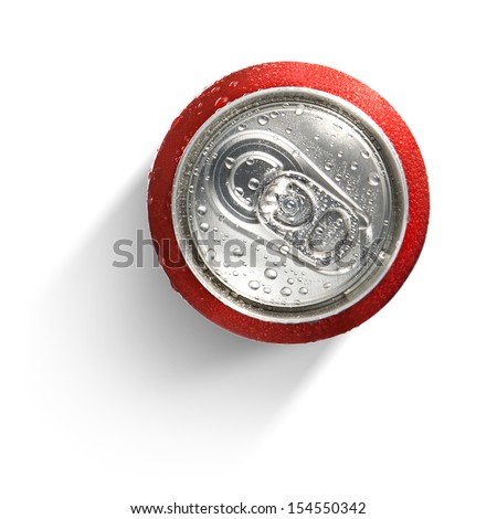 metallic can on white background, view from the top - stock photo