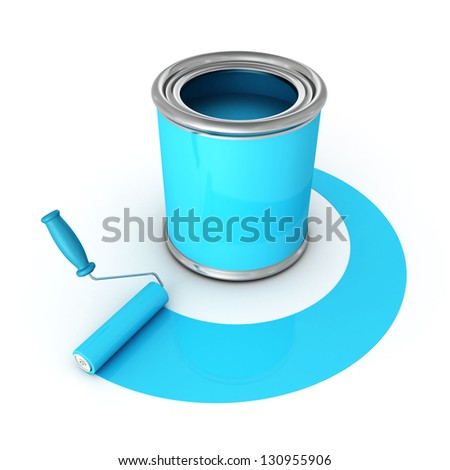 metallic can with blue paint and roller brush - stock photo