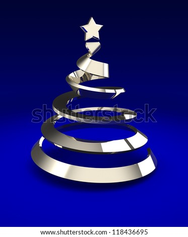 Metallic christmas tree over blue background, 3d image