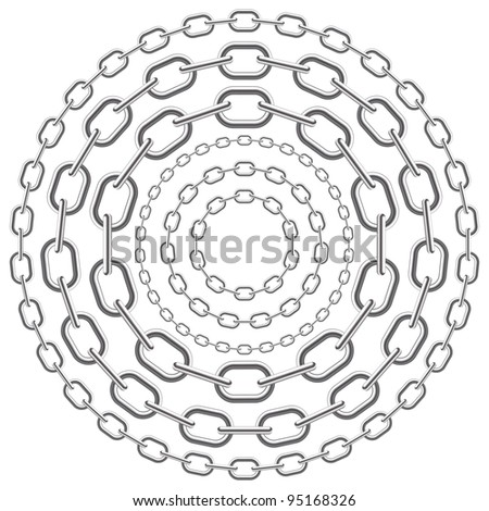 metallic circle chains isolated on white background. - stock photo