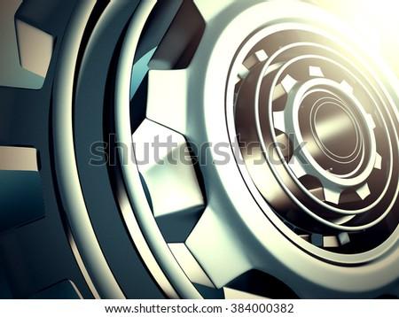 Metallic Cogwheel Gears Industrial Background. 3d Render Illustration - stock photo