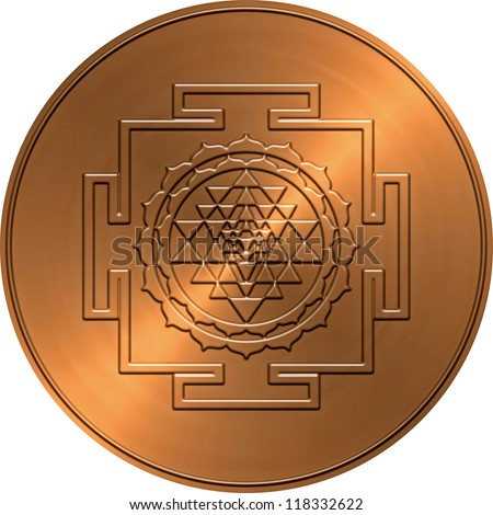 Metallic Copper Shree Yantra Design - stock photo