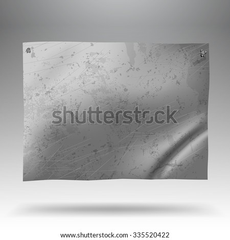 Metallic crumpled and spotted signboard. Tin-plate background - stock photo