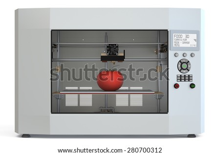 metallic 3d printer with food isolated on white background - stock photo