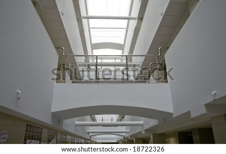 Metallic details of an interior of modern office building - stock photo