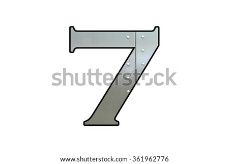 Metallic digit seven with nut isolated on white background, Number 7 - stock photo
