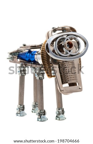 Metallic dog. Steampunk and cyberpunk style. - stock photo
